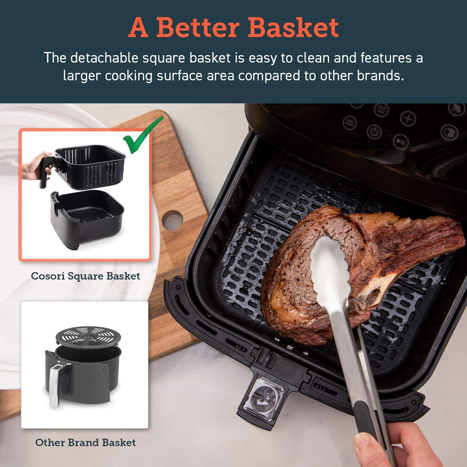 COSORI 5.8QT Electric Hot Air Fryers Oven - A better basket