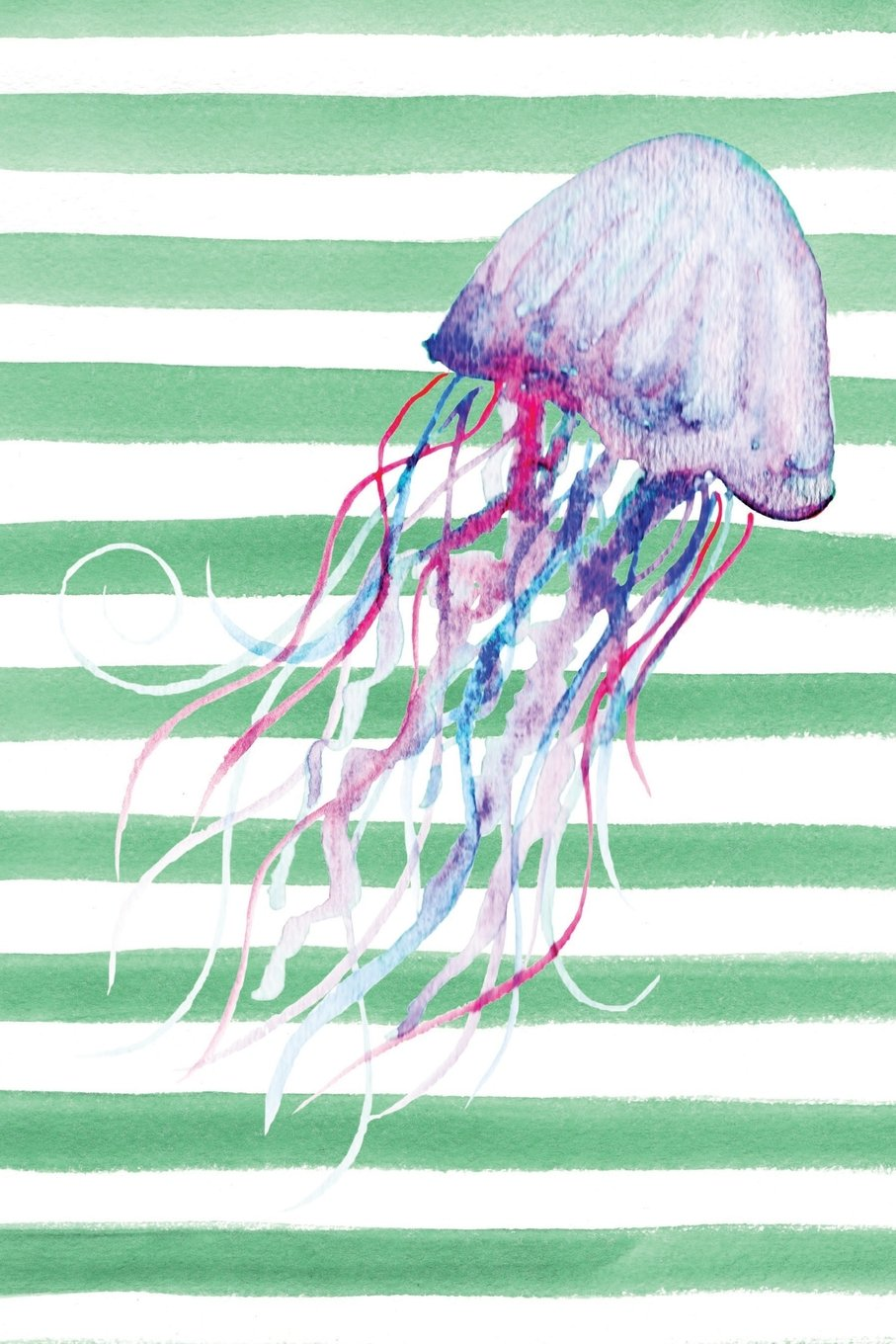 Download Jellyfish Green Watercolor Stripe Journal: Blank Sketchbook Artist Notebook with Unlined Drawing Paper pdf epub