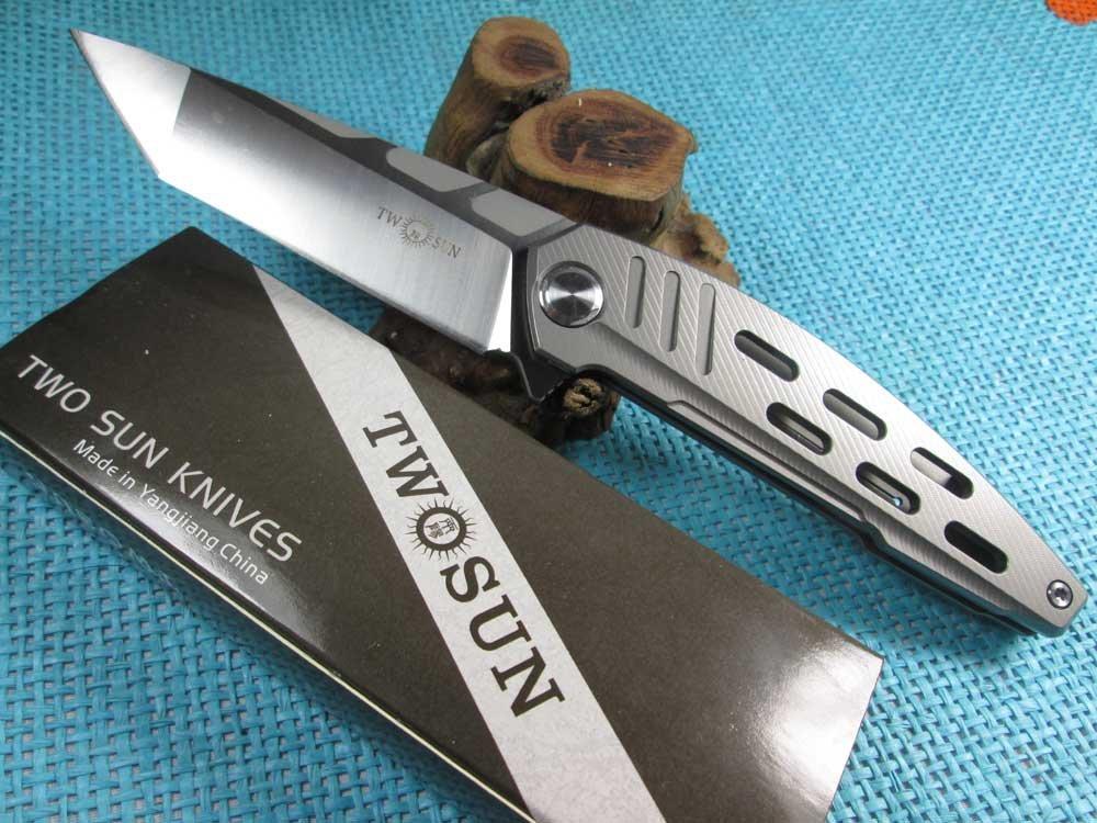 Twosun Knives Outdoor Tool EDC D2 Titanium Fast Open Hunter Folding Knife TS54 by TwoSun