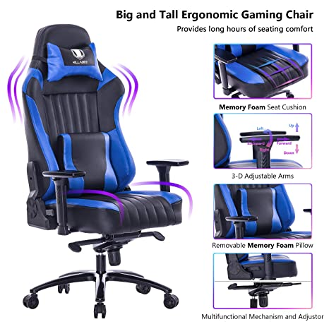 Fine Killabee Big And Tall 181Kg Memory Foam Gaming Chair Adjustable Tilt Angle And 3D Arms Ergonomic High Back Leather Racing Executive Computer Desk Beatyapartments Chair Design Images Beatyapartmentscom