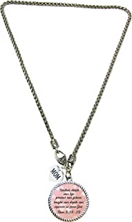 product image for Custom Christian Scripture Silver Necklace Romans 8:38-39 Mom Jewelry with Mom Charm