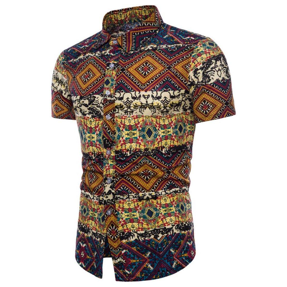 Doric Mens Summer Boho Floral Short Sleeve Hawaii Shirt Tops