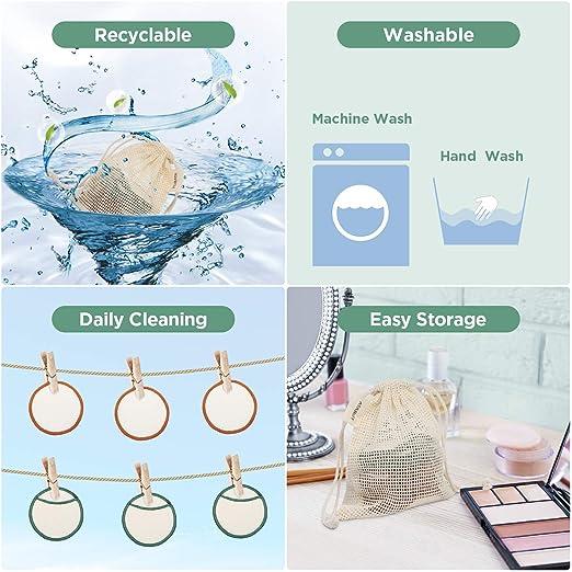 Almohadillas Desmaquillantes, TURATA 16Pcs Almohadillas de algodón de bambú reutilizables con bolsa de lavandería, Lavable Maquillaje facial Paños de ...