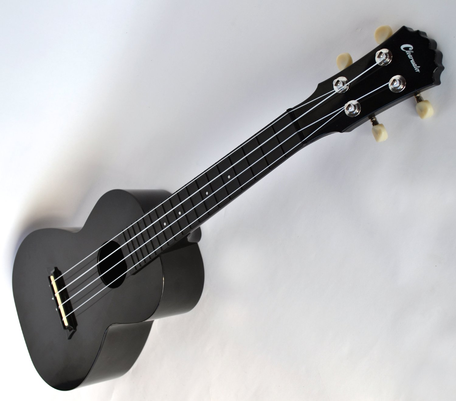 concert ukulele in black abs by clearwater special offer