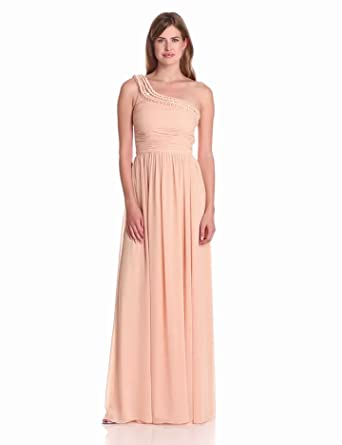 ERIN erin fetherston Women's Braided Ribbon Neckline One Shoulder Evening Gown, Cameo Rose, 2
