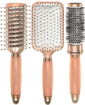 30705fa44e3b3e Lily England Lot 3x Brosses à Cheveux Or Rose. Inclus Brosses Ronde, Plate  et