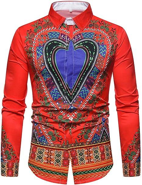 SFSF Camisa Estampada Hombre Collar de pie Chaqueta de Viento etnica Botón Manga Larga Talla Grande Camisa Ajustado Respirable Moda Personalidad Camisa de Hombre Apto para Todas Las Estaciones,Red,XL: Amazon.es: Deportes y