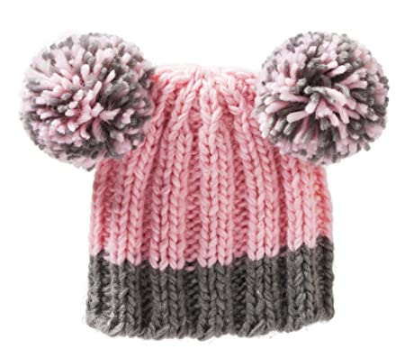 c9ed242b37f ... free shipping pink knit baby hat with pom poms for ages 0 to 6 months  9662f