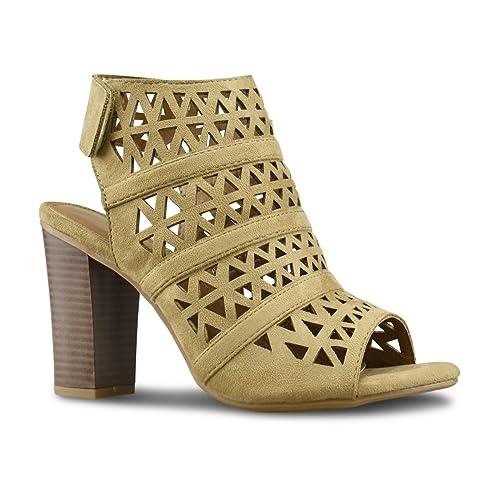Premier Standard Womens Perforated Stacked Wooden Block Heel Shoe Comfortable Walking Heeled Sandals