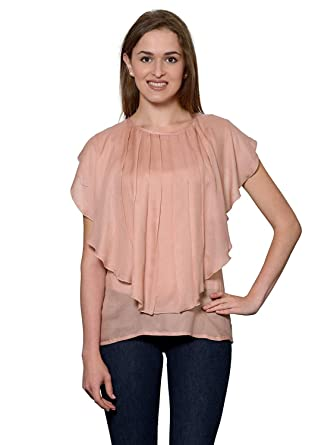 e0821482936 RADANYA Women s Top Tunic Stylish Double Layer Flap Fashionable Tops S-5XL  Peach