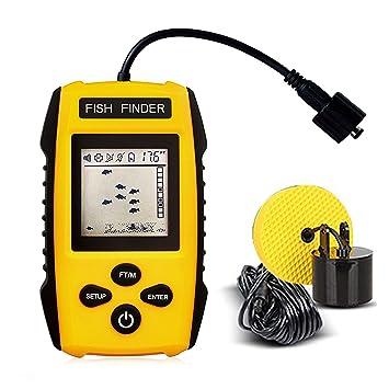 JJOBS Rastreador de Peces Portátil, Sonar para Pesca, con Cable Sensor transductor y Pantalla LCD, Detector de Profundidad, Buscador de Peces: Amazon.es: ...