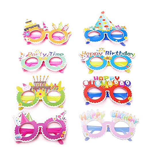 NUOBESTY 12 unids Feliz cumpleaños Gafas de Fiesta de Papel ...