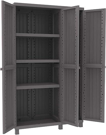 terry armoire en resine antichoc 102 x 39 x h 170 cm 3 portes 3 etageres pour exterieur balcon jardin