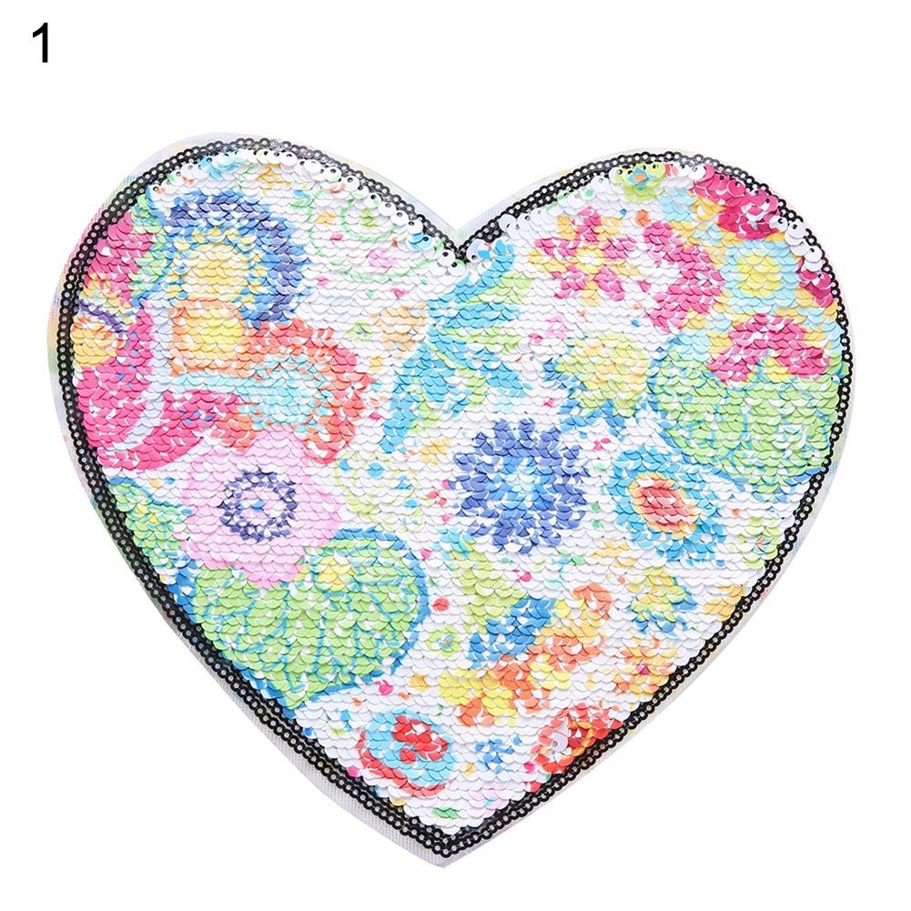 1 lzndeal Change color Paillette Patch Reversible Sew On applique Heart Shape For Clothes DIY Clothing Coat