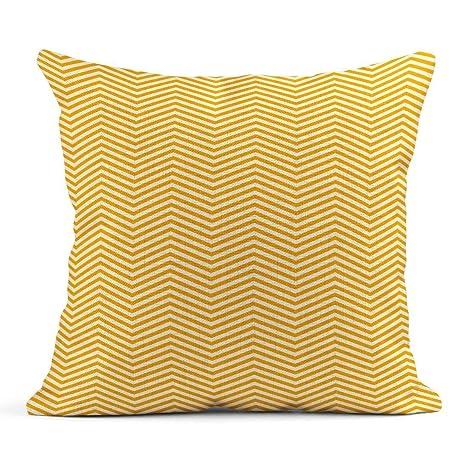 Kinhevao Almohada de Tiro Cool Yellow Zig Zag Líneas Patrón ...