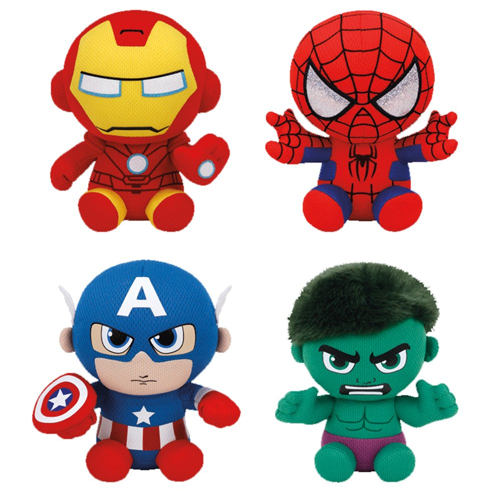Set of 4 Ty Marvel Beanie Baby Spider-Man, Hulk, Iron Man & Captain America by TY
