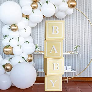 DIY Birthday Baby Shower Decorations - 4pcs Wood Grain Paper Boxes with Baby+A-Z Letters,Party Boxes Block for Baby Shower Birthday Gender Reveal Graduation Party Supplies
