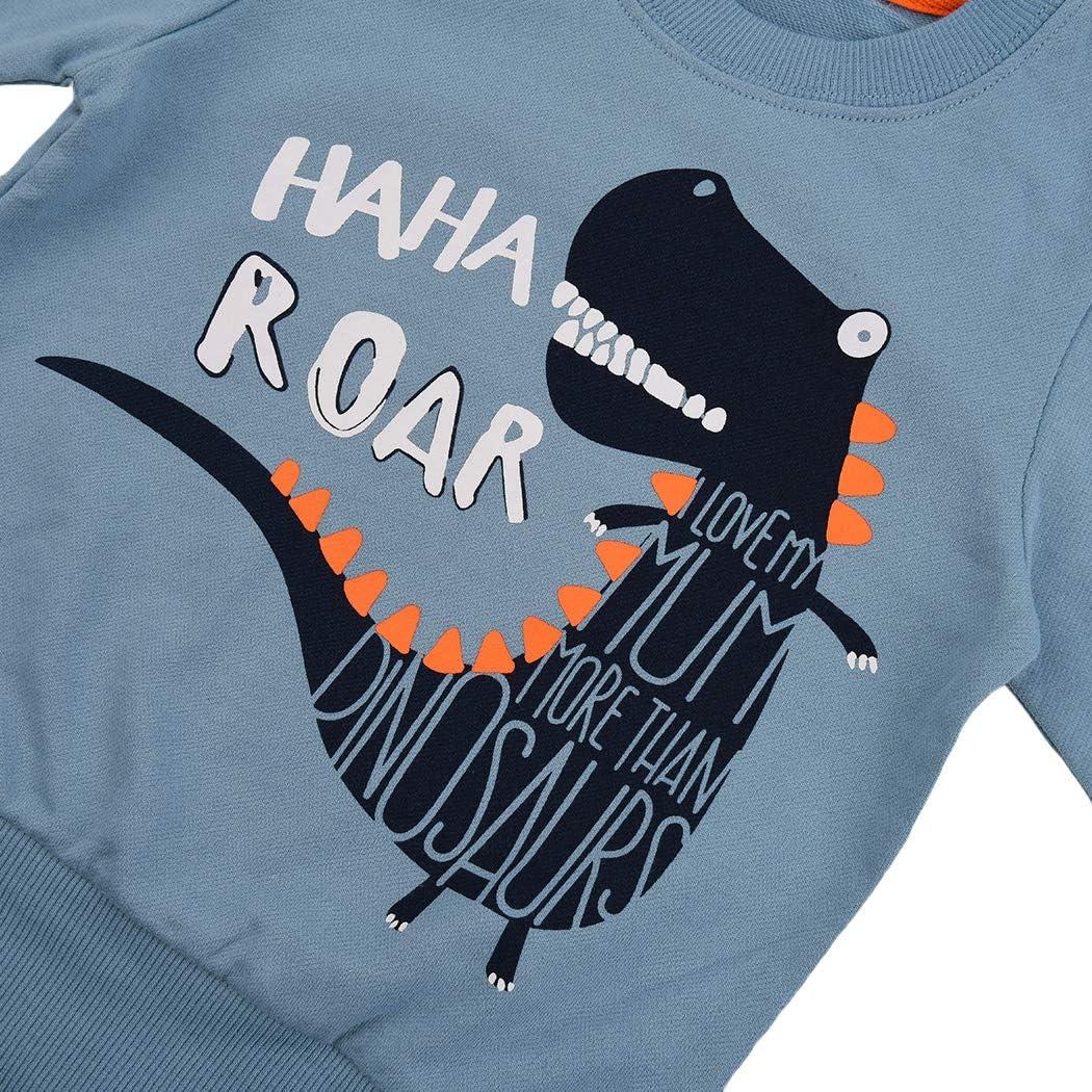 Tkria Jungen Kinder Sweatshirt Baby Baumwolle Pullover T-Shirt Top mit Dinosaurier Krokodil 98 104 110 116 122 128