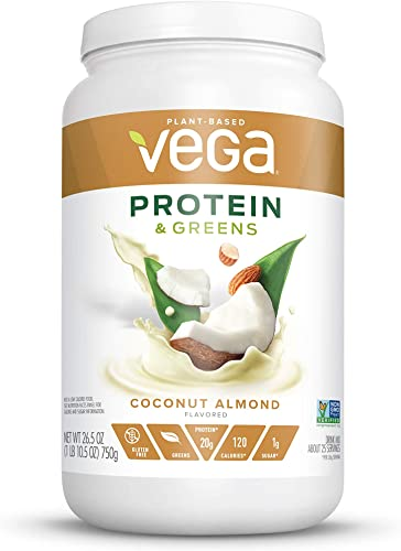 Vega Protein Greens Coconut Almond 25 Servings, 26.5 Ounce – Plant Based Protein Powder, Keto-Friendly, Gluten Free, Non Dairy, Vegan, Non Soy, Non GMO – Packaging May Vary