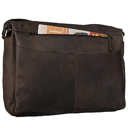 9ac171d0a ... Piel Vintage para Hombre y Mujer Bolsa de Hombro o maletín para  portátil de 15.6'' de Cuero auténtico, Color:marrón Oscuro - Opaco:  Amazon.es: Equipaje