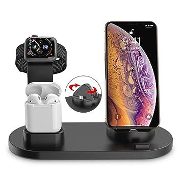 Soporte de Carga para Apple Watch, Muelles De Carga Teléfono Estación De Carga Soporte Cargador 3en 1 para Phone X XS MAX 8 Plus y Teléfonos ...