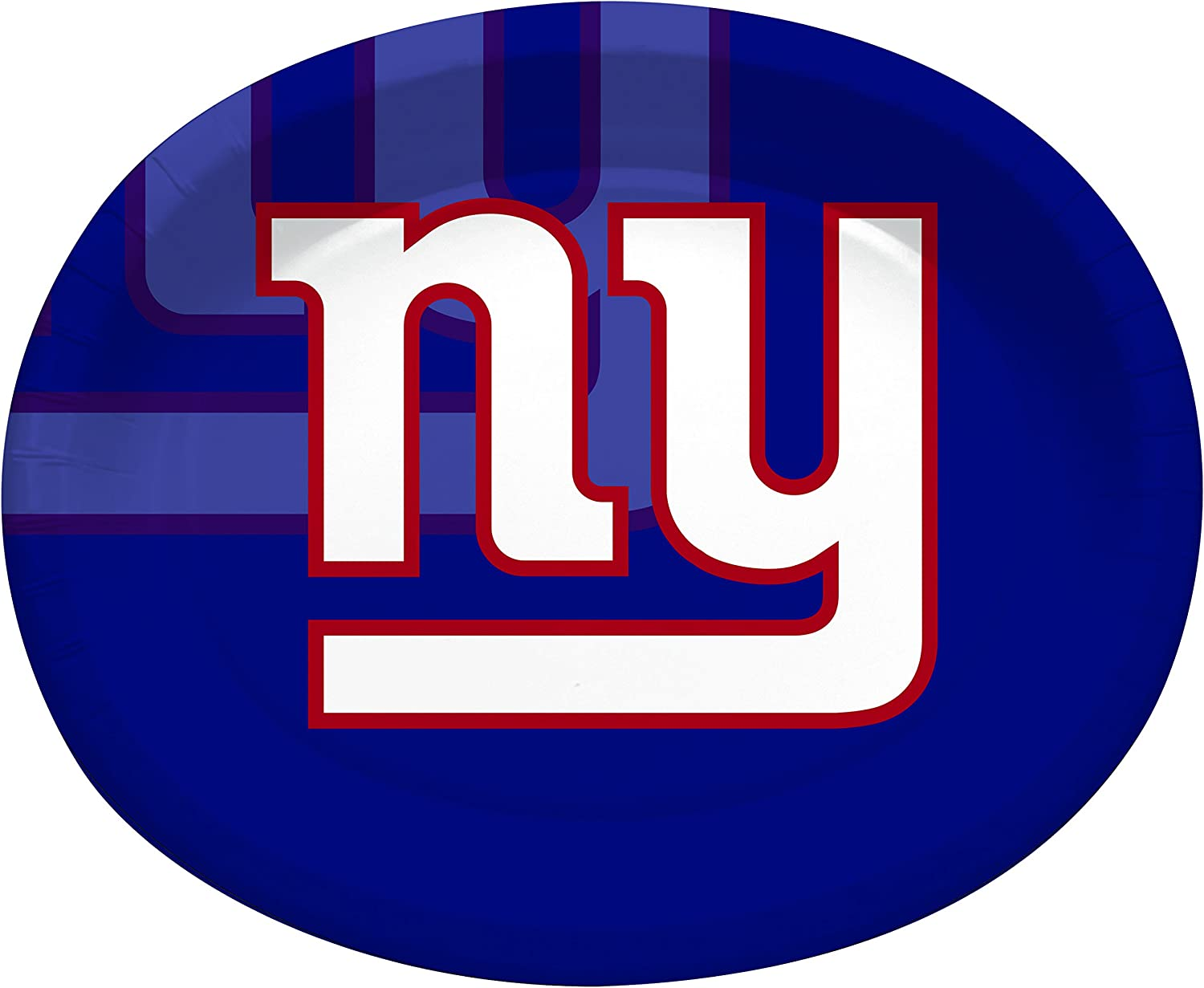Creative Converting Officially Licensed NFL Oval Paper Platters, 8-Count, New York Giants