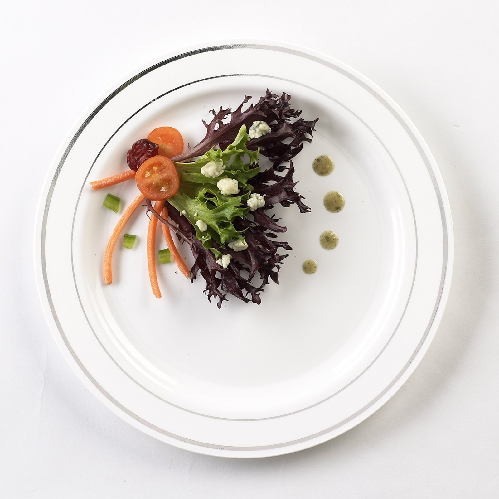 EMI Yoshi Koyal Glimmerware Salad Plates, 7.5-Inch, White and Silver, Set of 120