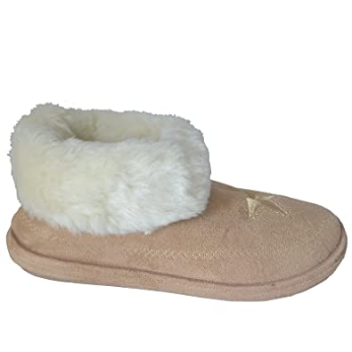 Ladies Womens Slipper Boots Girls New Warm Winter Fur Cuff Booties Shoes  Colour Brown Sandy Size 28cddb78d