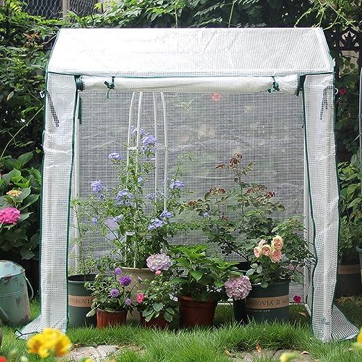 XY&CF-Flower house Invernadero, jardín, Tubo de Acero Inoxidable Grueso, Esqueleto, PE, Malla, Invernadero (130 * 90 * 150 cm): Amazon.es: Hogar