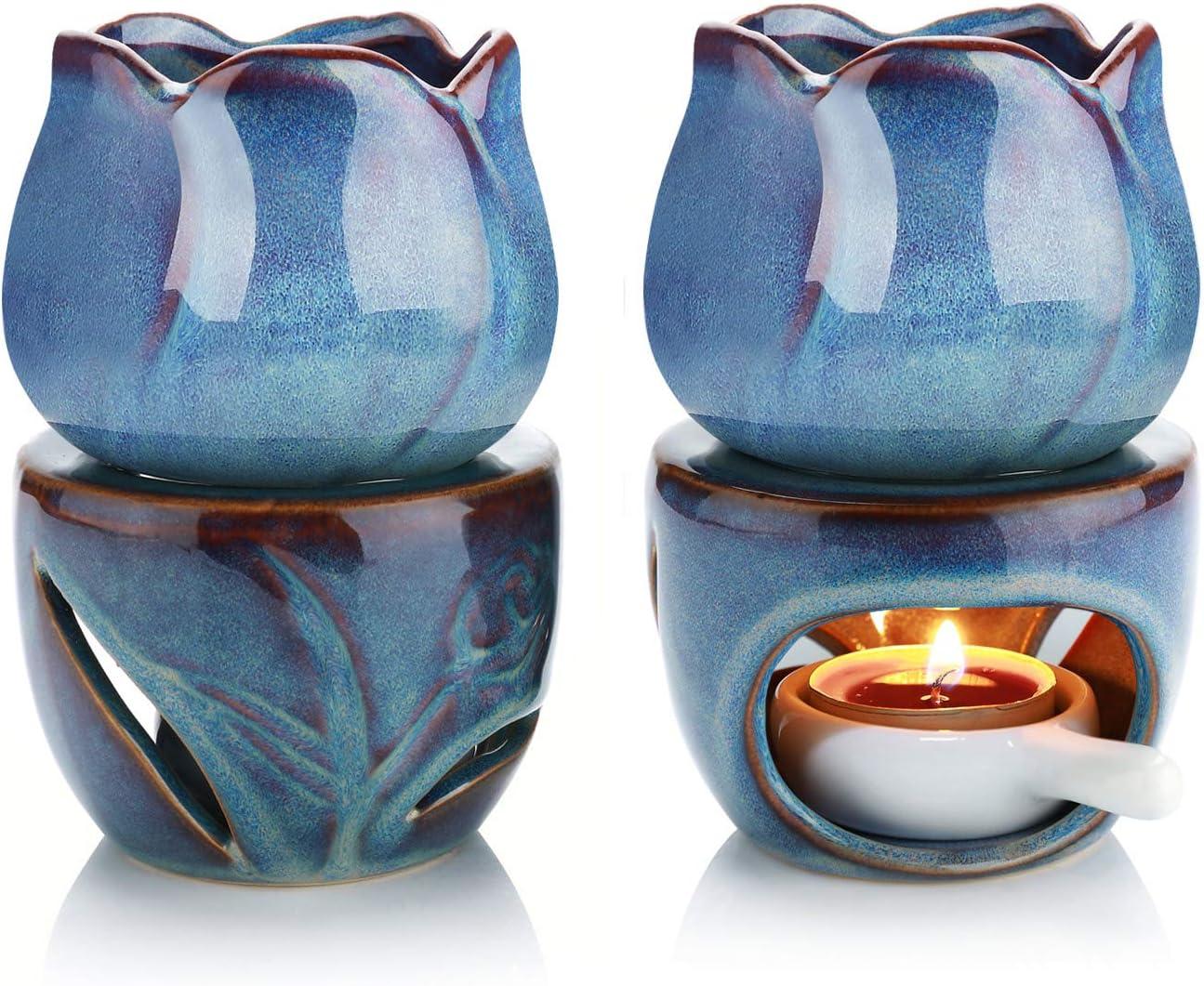 ComSaf Wax Melt Burners Essential Oil Burner Set of 2, Aromatherapy Aroma Burner Ceramic Oil Diffuser Candle Tealight Holder Home Bedroom Decor Christmas Housewarming Gift