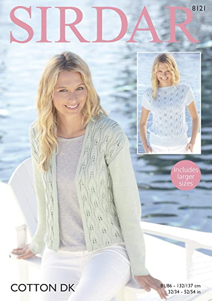 0df71db30cc6 Sirdar 8121 Knitting Pattern Womens Jacket and Top in Sirdar Cotton DK   Amazon.co.uk  Kitchen   Home