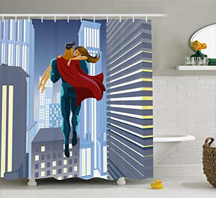 Ambesonne Superhero Shower Curtain, Romance Man Super Powers Rescues His  Beloved Flying in Skyscrapers Love Design, Fabric Bathroom Decor Set with