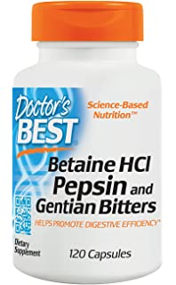 Doctors Best Betaine HCL Pepsin and Gentian Bitters - 120 x 650mg Capsules