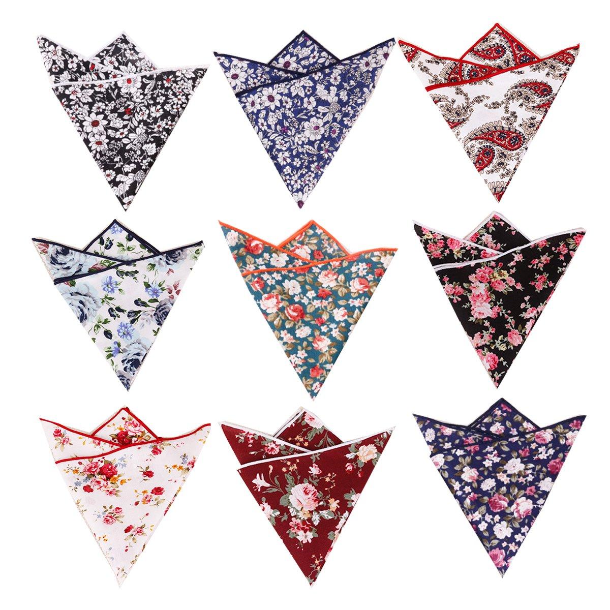 BonjourMrsMr Men's Business Suit Casual Floral Cotton Pocket Square Handkerchiefs Set by BonjourMrsMr (Image #2)