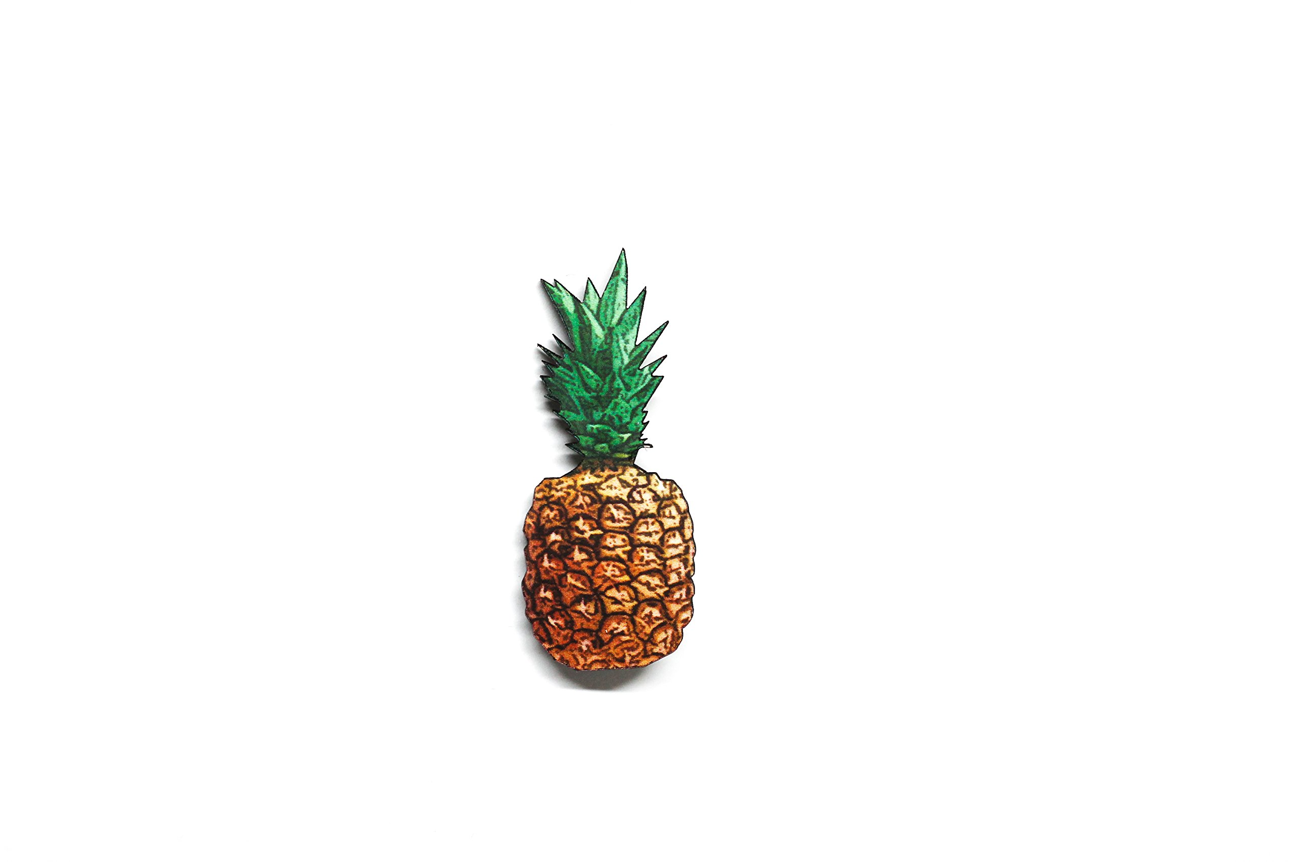 Tropical Pineapple Pinback Wooden Brooch Pin