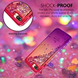 Tznzxm for iPhone 7 Plus/iPhone 8 Plus Case Glitter Floating Flexible TPU Gradient Quicksand Shockproof Bling Diamond Sparkly Defender Protective Case for iPhone 7 Plus/iPhone 8 Plus Pink & Purple