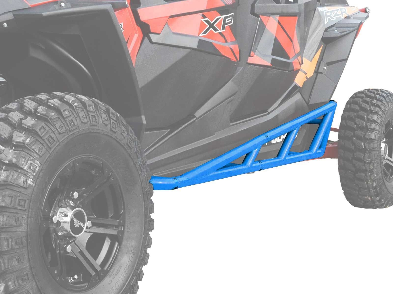 SuperATV Nerf Bars/Tree Kickers/Rock Sliders for Polaris RZR XP 4 1000 (2014+) - Velocity/Voodoo Blue - Compatible With Our Full Protection Kit!