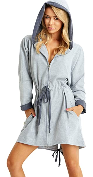 kid factory unique style Wanmar Ladies Soft Short Hooded Dressing Gown Housecoat Zip Up Robe