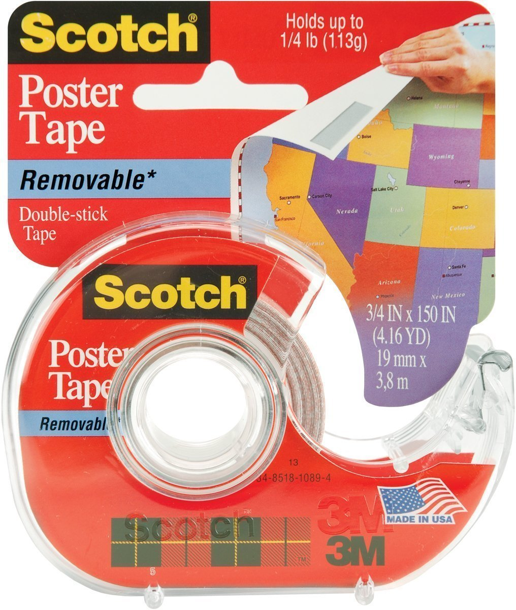 Amazon.com : Scotch Removable Poster Tape, 3/4-inch x 150-inches, Clear, 1  Roll/Pack (109) : Electrical Tape : Office Products