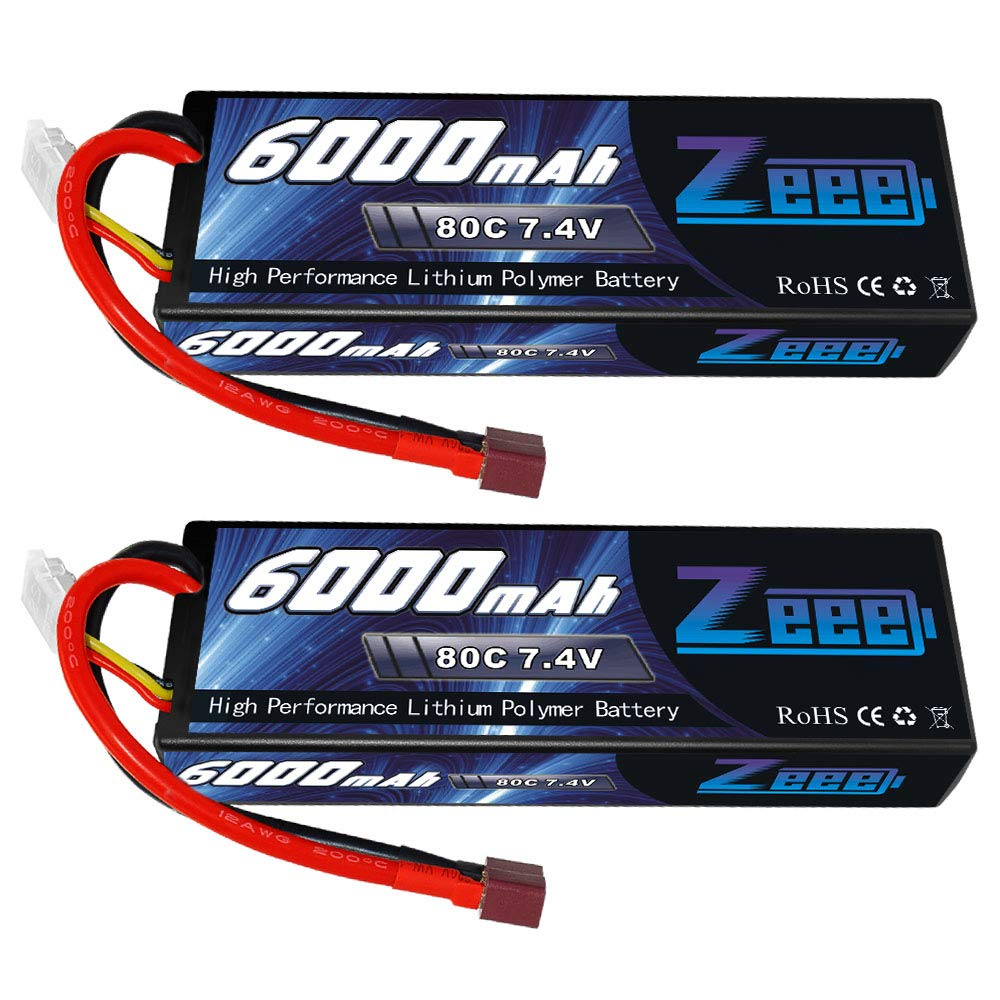 Zeee 6000mAh 80C 2S 7.4V Hardcase Lipo Battery with Deans Connector for 1:8 Scale RC Car, RC Airplane, RC Helicopter, RC Boat (2 Pack)