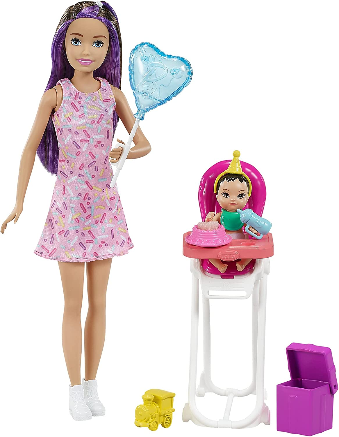Barbie Skipper Babysitters Inc. Dolls & Playset with Babysitting Skipper Doll, Color-Change Baby Doll, High Chair & Party-Themed Accessories for Kids 3 to 7 Years Old