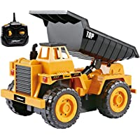 Top Race TR-112S 5 Channel Fully Functional Remote Control Construction Kids Size Designed for Small Hands (Dump Truck)