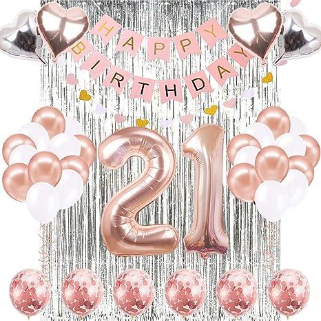 21th Birthday Decorations Banner Balloon, Happy Birthday Banner, 21th Rose Gold Number Balloons, Number 21 Birthday Balloons, 21 Years Old Birthday ...