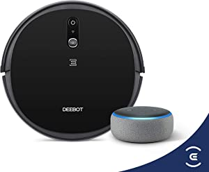 ECOVACS DEEBOT 711S Robotic Vacuum Cleaner with Smart Navi 2.0 Visual Mapping Bundle with Echo Dot 3rd Gen (Charcoal)