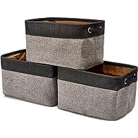 Foldable Storage Bin Basket, [3-Pack] EZOWare Rectangular Foldable Canvas Fabric Tweed Storage Cube Bin Set With Handles - Black