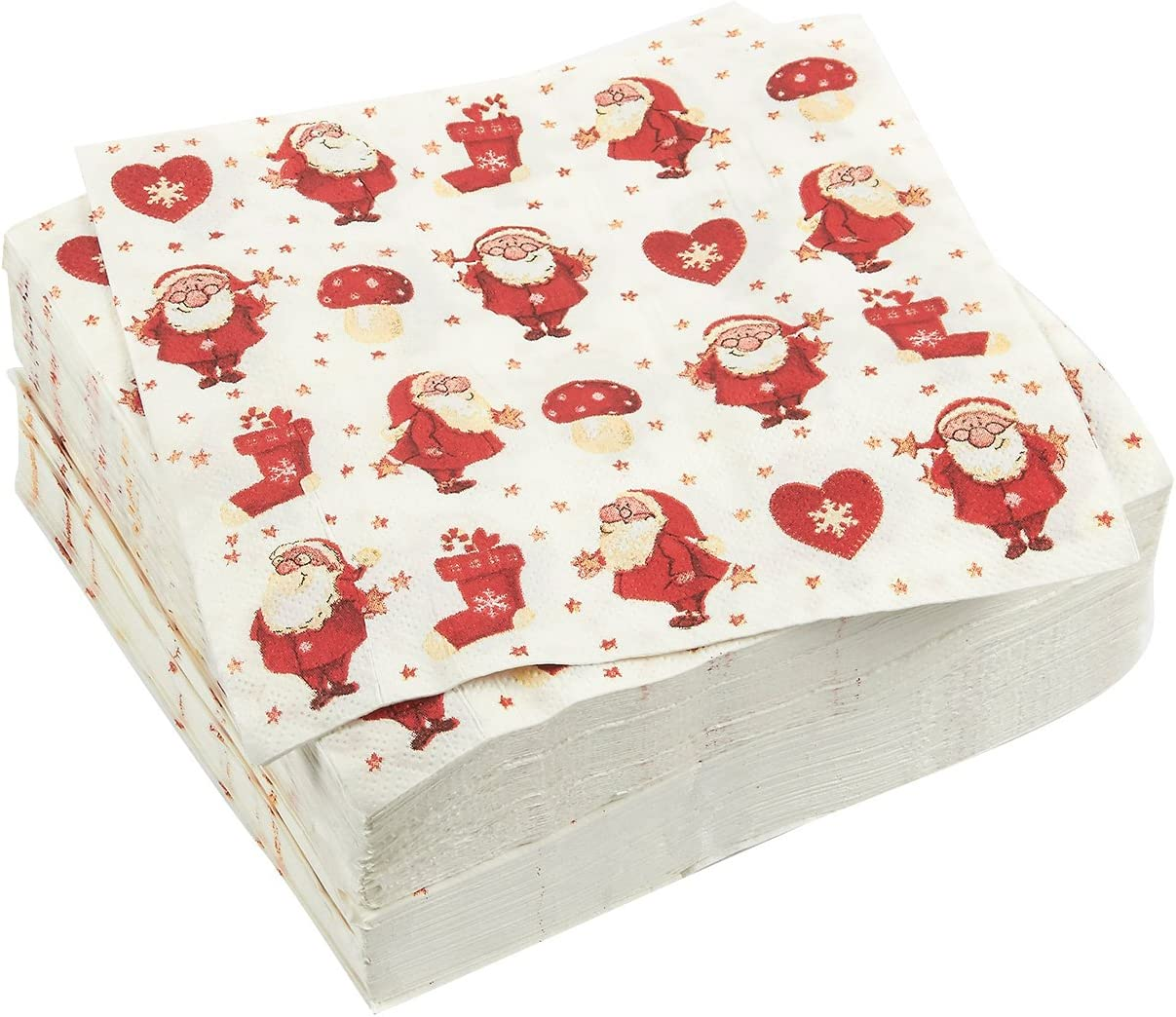 100-Pack Cocktail Napkins - Christmas Themed Disposable Paper Party Napkins with Santa Claus Prints - Soft and Absorbent - Perfect for Luncheons  Dinners and Celebrations - 6 5 x 6 5 Inches Folded
