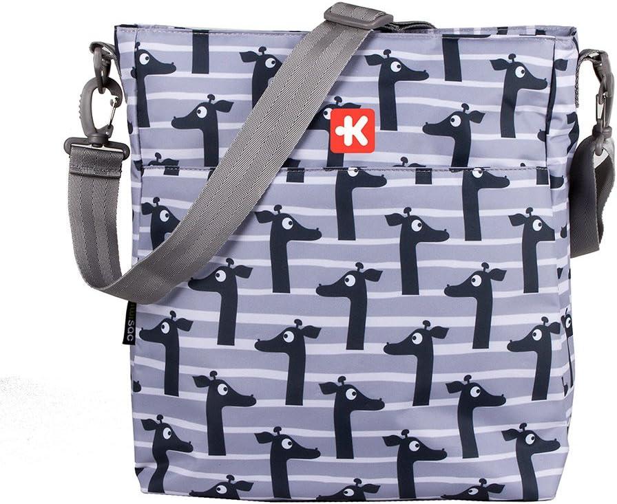 Kiwisac Happy Trip Kenya Bolso para Carro de Bebé Universal Diseño Original de Jirafas Negro y Gris Bolso Organizador, Bandolera Ajustable y Cintas de Sujeción 36x11x32 cm