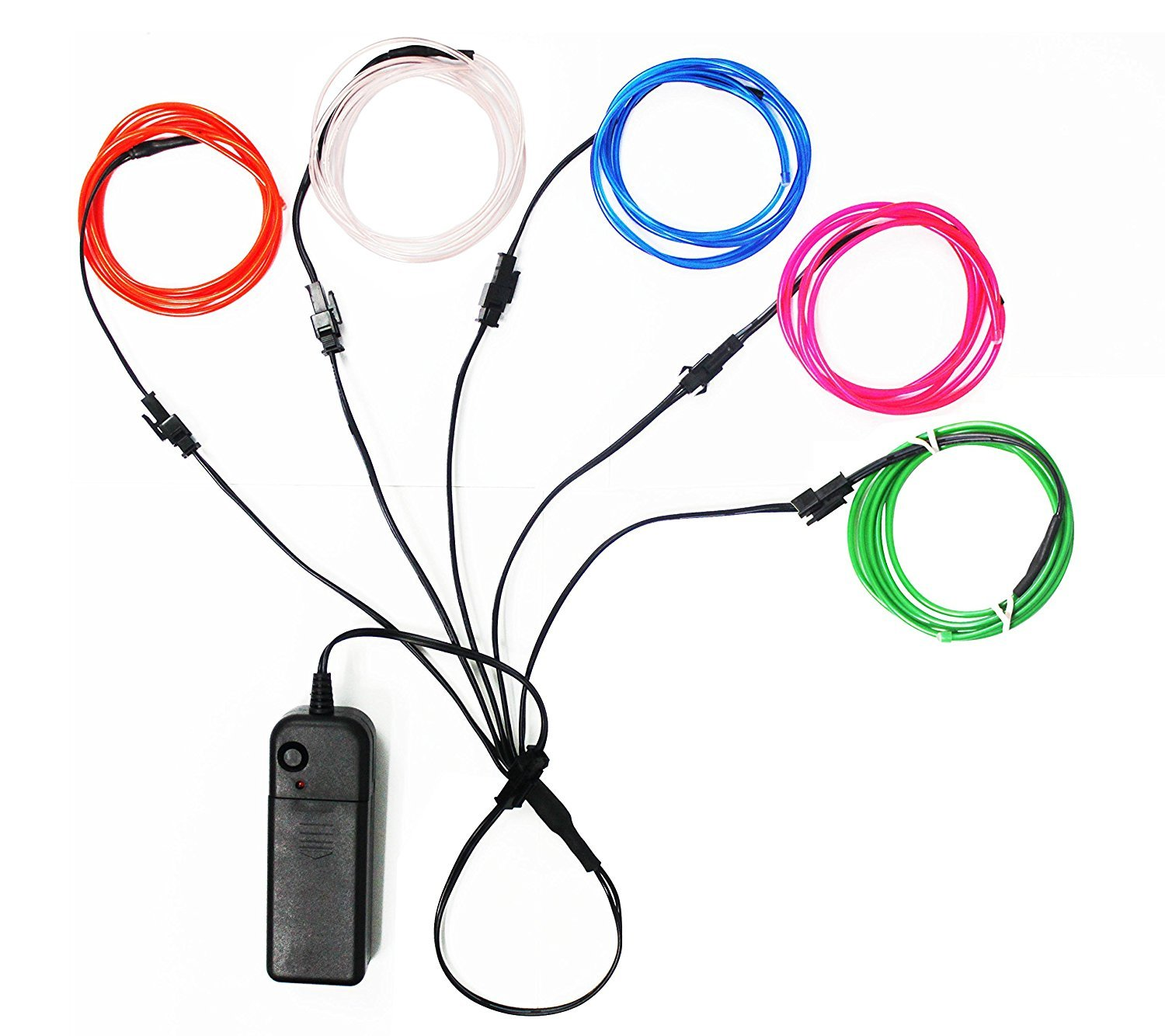 Ourbest El Wire Lights Neon Light Electroluminescent Wire Battery Operated 3ft for Halloween Christmas Party Decoration Blue White Red Green Pink(5 x 1M)
