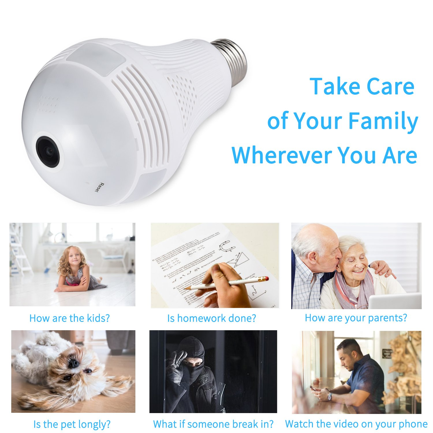 360 Degree Panoramic Camera WiFi IP Bulb Camera 960P Fisheye Lens Home Security Camera System Wireless Camera for Kids & Pets Monitor with iOS/Android App Easy Installation for Large Area Monitoring by Mykit (Image #6)