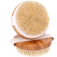 H&S 2 Body Brush Dry Skin Bath Shower Brush Natural Bristles Bamboo Wood